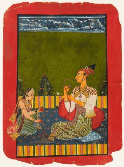 Maharaja Medini Pal smoking a hookahfront