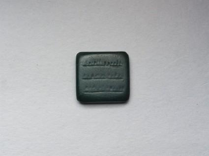 Rectangular bezel amulet with pseudo-inscriptionfront