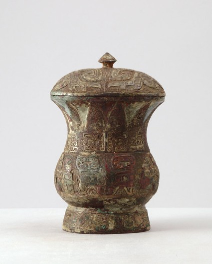 Ritual wine vessel, or zhi, with taotie mask patternfront