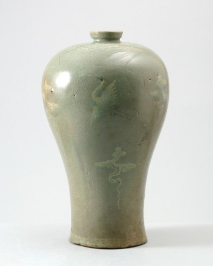 Greenware maebyong, or plum blossom, vase with cranesfront
