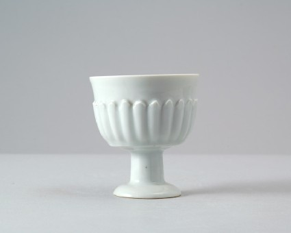 White ware stem cup with petal decorationfront