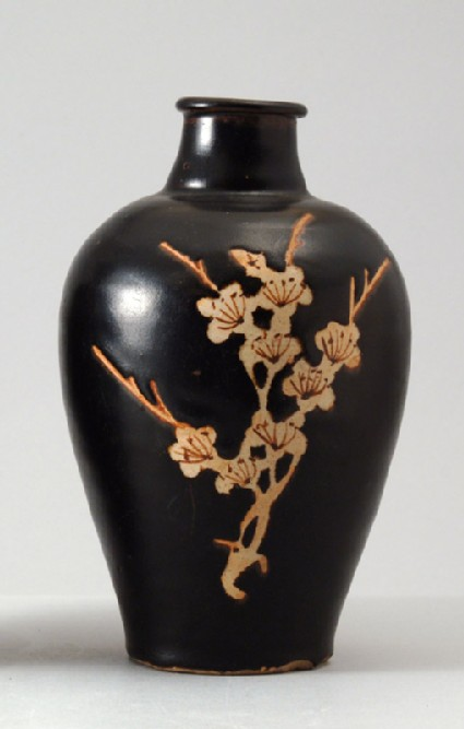 Black ware vase with plum blossom decorationfront
