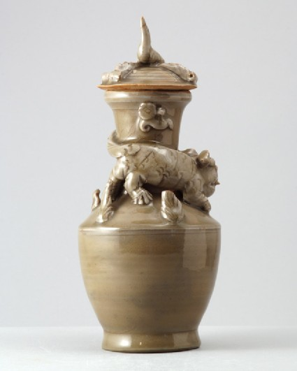 Greenware funerary vase with tiger, a puppy, and birdfront