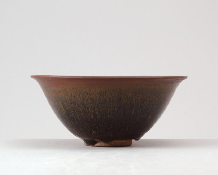 Black ware tea bowl with 'hare's fur' glazesfront