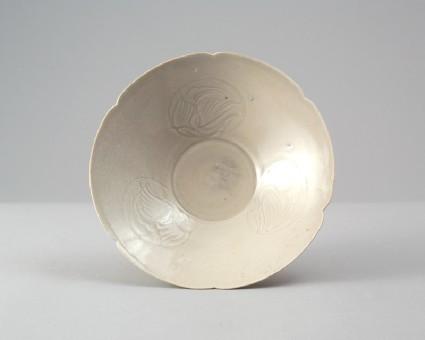 White ware bowl with birds in flightfront