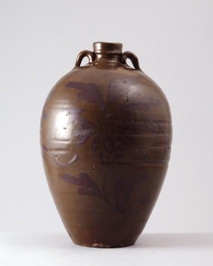 Black ware wine bottle with 'tea-dust' glazesfront