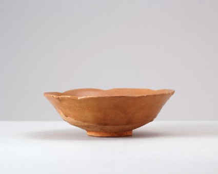 Greenware bowl with lobed rimfront