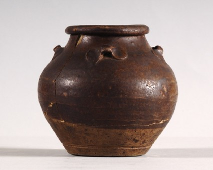 Black ware storage jar with loop handlesfront