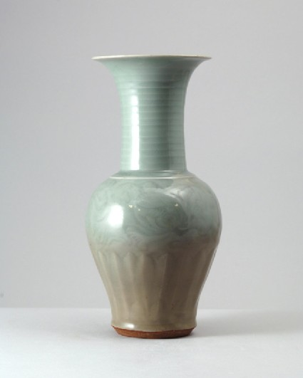 Greenware vase with lotus decorationfront