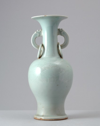 White ware vase with ring handlesfront