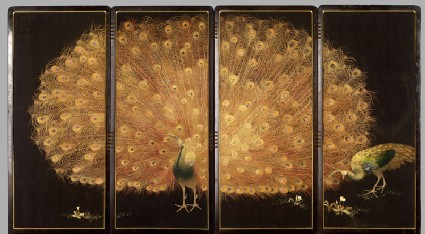 Screen with peacock and peahenfront, Cat. No. 21