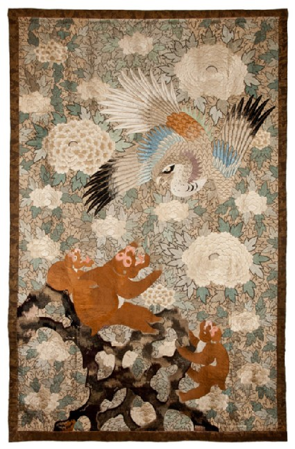Eagle attacking a family of monkeys on stylized rocksfront, Cat. No. 26