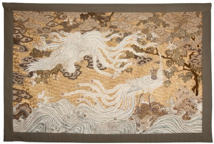 Two hōō, or mythical birds, over turbulent waves by a paulownia treefront, Cat. No. 6