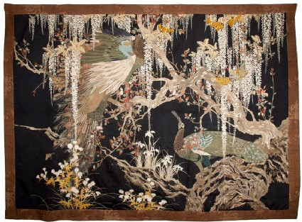 Peacock and peahen in a cherry tree with trailing wisteria, thistles, and irisfront, Cat. No. 20