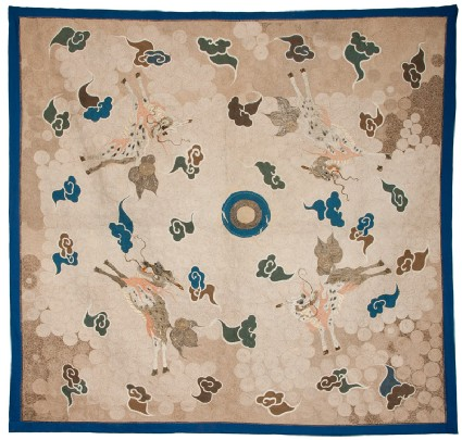 Silk hanging or tablecloth with pearl, stylized clouds, and four kirin, or horned creaturesfront, Cat. No. 7