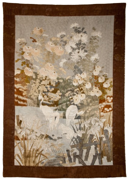 Egrets on a riverbank with irises, water lilies, and chrysanthemumsfront, Cat. No. 17
