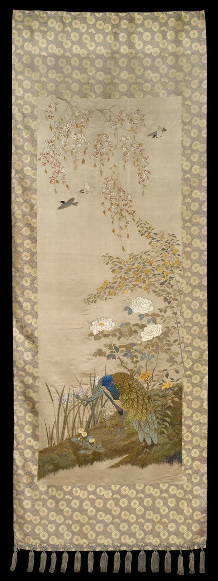 Peahen on a grassy bank with irises, lilies, and dandelionsfront, Cat. No. 23