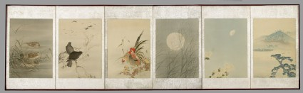 Screen depicting scenes from autumn and winterfront, Cat. No. 39