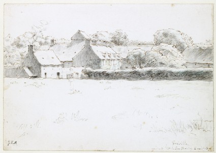 View of farm buildings across a fieldfront