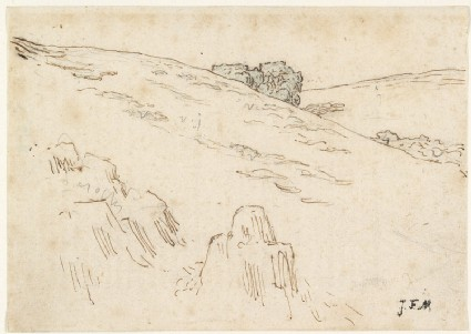 Hillside with rocks and a clump of treesfront